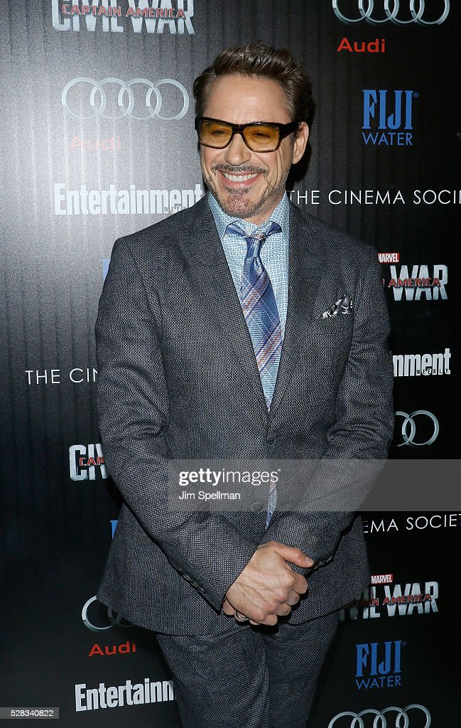 Actor Robert Downey Jr. attends the screening of Marvel's 'Captain America: Civil War' hosted by The Cinema Society with Audi & FIJI at Brookfield Place on May 4, 2016 in New York City.
