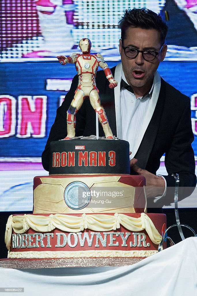Actor <a gi-track='captionPersonalityLinkClicked' href=/galleries/search?phrase=Robert+Downey+Jr.&family=editorial&specificpeople=204137 ng-click='$event.stopPropagation()'>Robert Downey Jr.</a> cuts his 48th birthday cake during the 'Iron Man 3' South Korea Premiere at Times Square on April 4, 2013 in Seoul, South Korea. <a gi-track='captionPersonalityLinkClicked' href=/galleries/search?phrase=Robert+Downey+Jr.&family=editorial&specificpeople=204137 ng-click='$event.stopPropagation()'>Robert Downey Jr.</a> is visiting South Korea to promote his recent film 'Iron Man 3' which will be released on April 25 in South Korea.