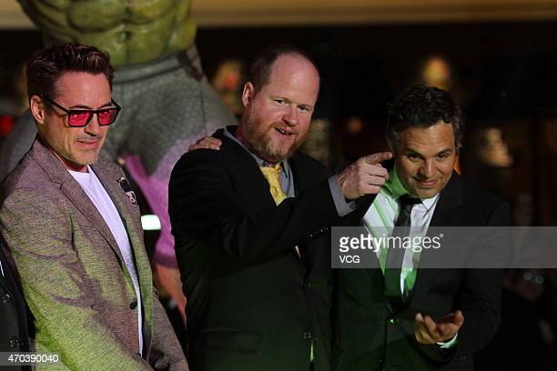 Actor Robert Downey Jr director Joss Whedon and actor Mark Ruffalo attend 'Avengers Age of Ultron' premiere at Indigo Mall on April 19 2015 in...