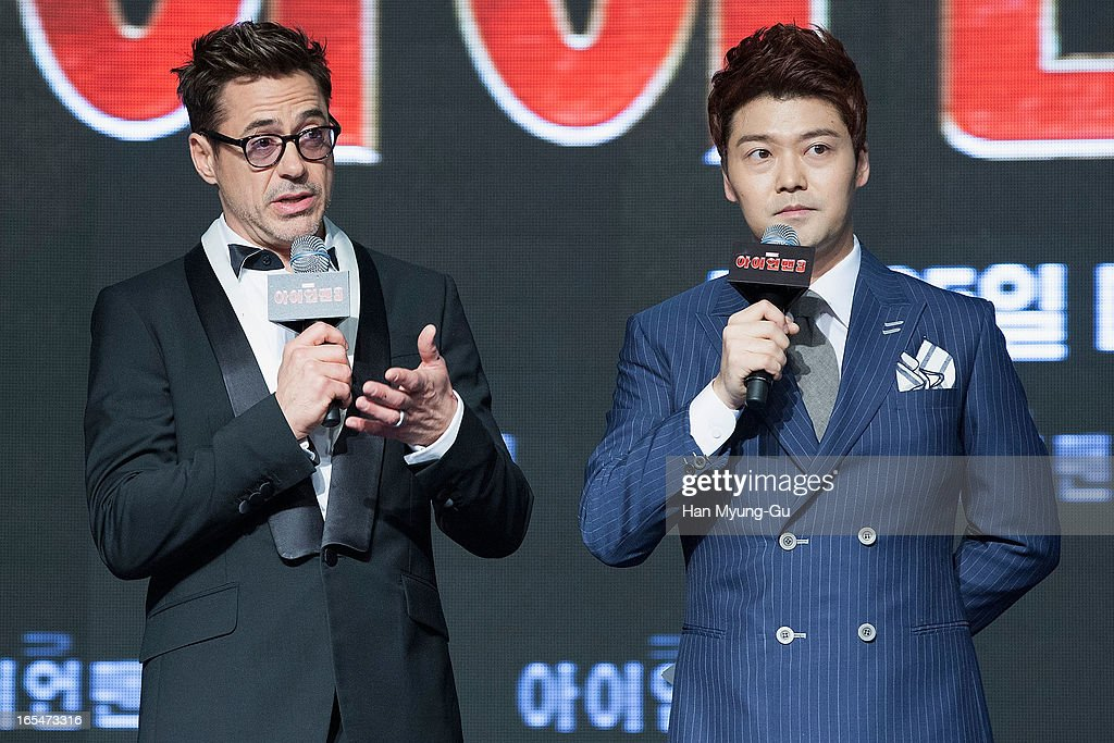 Actor Robert Downey Jr. (L) during the 'Iron Man 3' South Korea Premiere at Times Square on April 4, 2013 in Seoul, South Korea. Robert Downey Jr. is visiting South Korea to promote his recent film 'Iron Man 3' which will be released on April 25 in South Korea.
