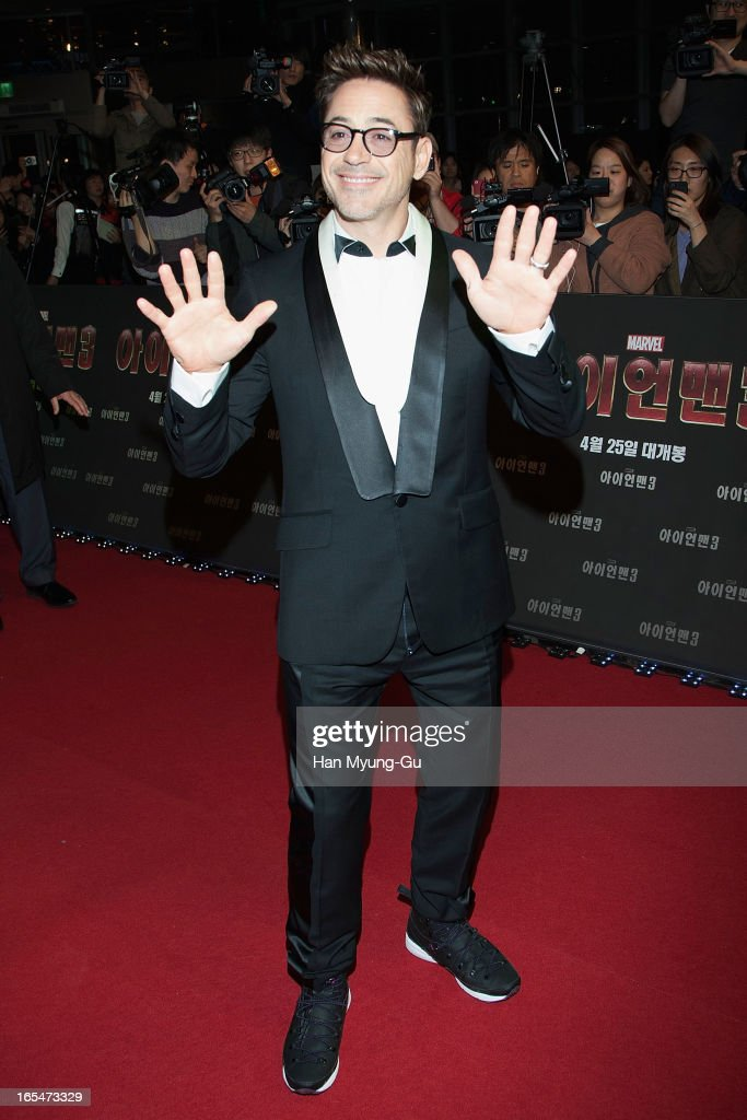 Actor <a gi-track='captionPersonalityLinkClicked' href=/galleries/search?phrase=Robert+Downey+Jr.&family=editorial&specificpeople=204137 ng-click='$event.stopPropagation()'>Robert Downey Jr.</a> gestures during the 'Iron Man 3' South Korea Premiere at Times Square on April 4, 2013 in Seoul, South Korea. <a gi-track='captionPersonalityLinkClicked' href=/galleries/search?phrase=Robert+Downey+Jr.&family=editorial&specificpeople=204137 ng-click='$event.stopPropagation()'>Robert Downey Jr.</a> is visiting South Korea to promote his recent film 'Iron Man 3' which will be released on April 25 in South Korea.