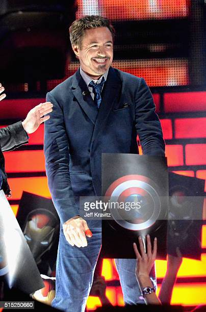 Actor Robert Downey Jr onstage during Nickelodeon's 2016 Kids' Choice Awards at The Forum on March 12 2016 in Inglewood California