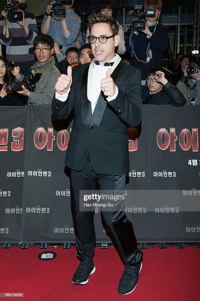 Actor <a gi-track='captionPersonalityLinkClicked' href=/galleries/search?phrase=Robert+Downey+Jr.&family=editorial&specificpeople=204137 ng-click='$event.stopPropagation()'>Robert Downey Jr.</a> poses for the media during the 'Iron Man 3' South Korea Premiere at Times Square on April 4, 2013 in Seoul, South Korea. <a gi-track='captionPersonalityLinkClicked' href=/galleries/search?phrase=Robert+Downey+Jr.&family=editorial&specificpeople=204137 ng-click='$event.stopPropagation()'>Robert Downey Jr.</a> is visiting South Korea to promote his recent film 'Iron Man 3' which will be released on April 25 in South Korea.