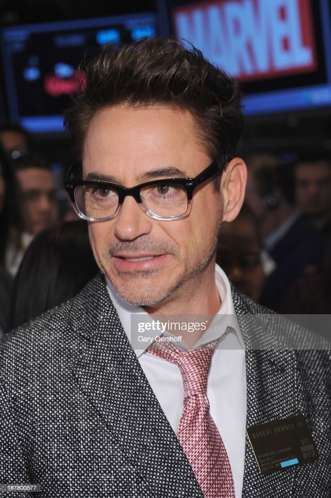 Actor <a gi-track='captionPersonalityLinkClicked' href=/galleries/search?phrase=Robert+Downey+Jr.&family=editorial&specificpeople=204137 ng-click='$event.stopPropagation()'>Robert Downey Jr.</a> seen before ringing the opening bell at the New York Stock Exchange on April 30, 2013 in New York City.