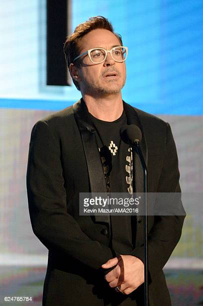 Actor Robert Downey Jr speaks onstage at the 2016 American Music Awards at Microsoft Theater on November 20 2016 in Los Angeles California