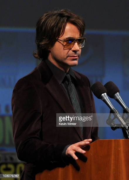 Actor Robert Downey Jr speaks onstage at the Marvel Studios' 'Captain America The First Avenger' panel during ComicCon 2010 at San Diego Convention...