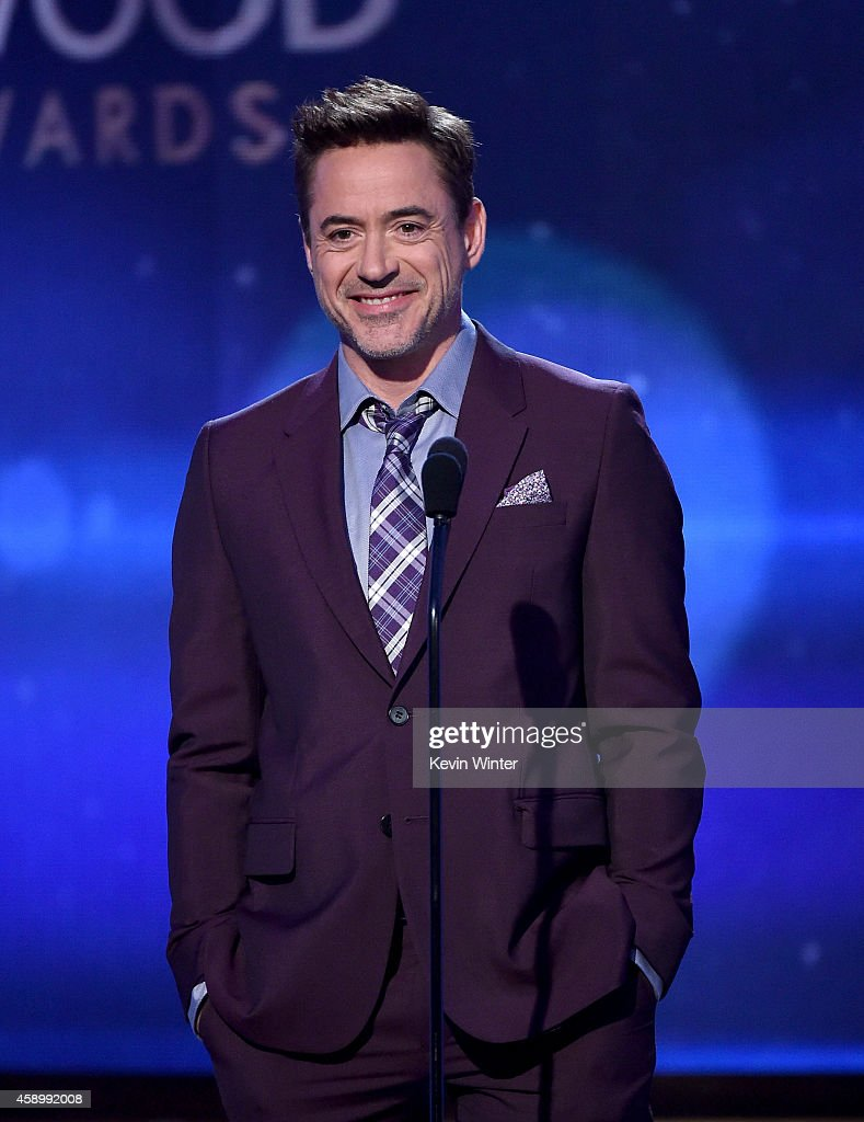 Actor <a gi-track='captionPersonalityLinkClicked' href=/galleries/search?phrase=Robert+Downey+Jr.&family=editorial&specificpeople=204137 ng-click='$event.stopPropagation()'>Robert Downey Jr.</a> speaks onstage during the 18th Annual Hollywood Film Awards at The Palladium on November 14, 2014 in Hollywood, California.