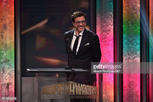 Actor Robert Downey Jr speaks onstage during the 2016 ABFF Awards A Celebration Of Hollywood at The Beverly Hilton Hotel on February 21 2016 in...