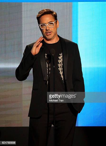 Actor Robert Downey Jr speaks onstage during the 2016 American Music Awards held at Microsoft Theater on November 20 2016 in Los Angeles California