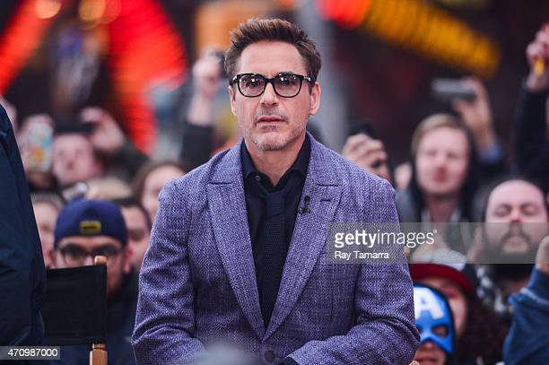 Actor Robert Downey Jr tapes an interview at 'Good Morning America' at the ABC Times Square Studios on April 24 2015 in New York City