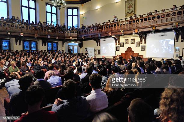Actor Robert Downey Jr visits the Cambridge Union the debating society for the University of Cambridge on October 17 2014 in Cambridge England