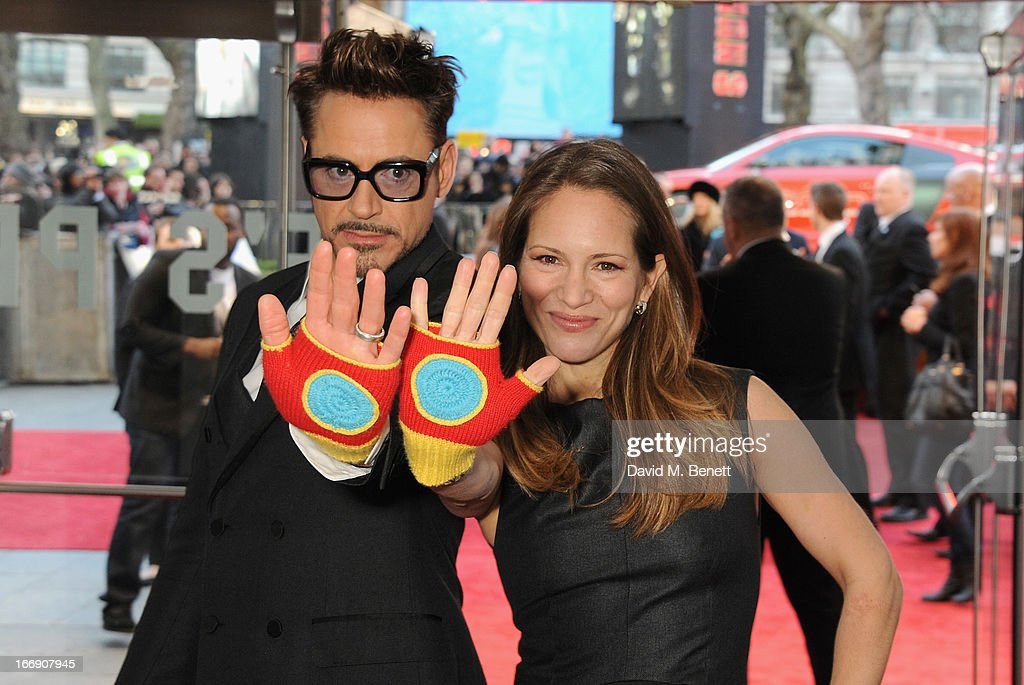 Actor Robert Downey Jr with his wife Susan attend the 'Iron Man 3' Special Screening at the Odeon Leicester Square on April 18, 2013 in London, England.