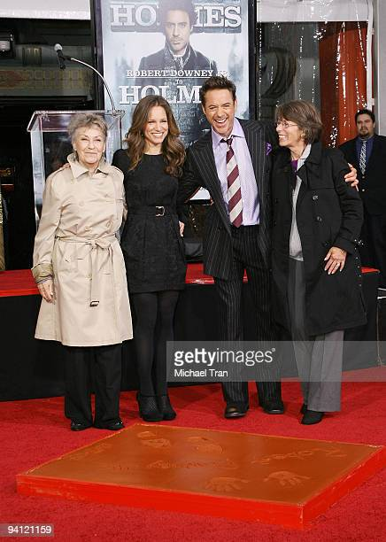Actor Robert Downey Jr with his wife Susan Downey and their respective mothers' attend Robert Downey Jr's hand and footprint ceremony held in...