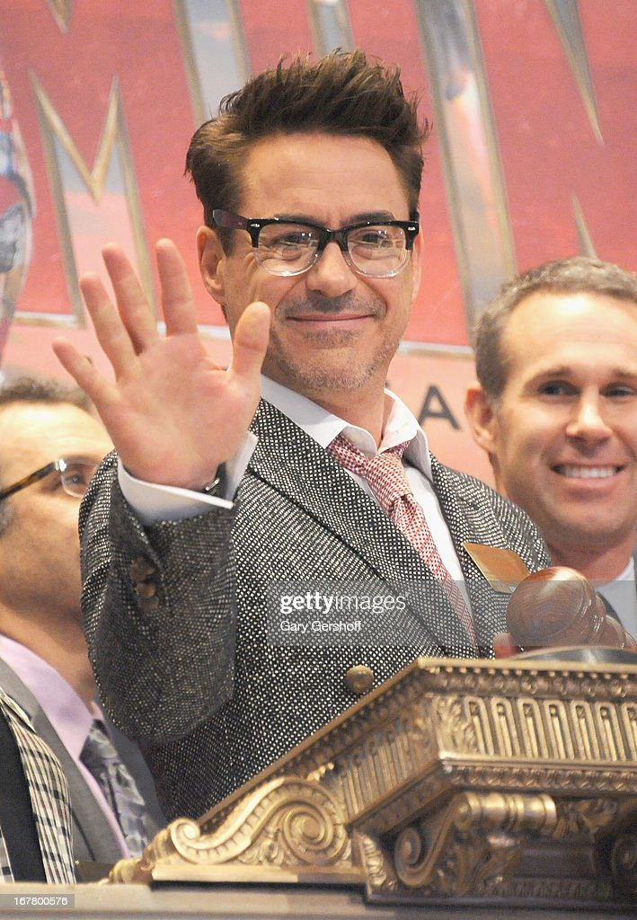 Actor <a gi-track='captionPersonalityLinkClicked' href=/galleries/search?phrase=Robert+Downey+Jr.&family=editorial&specificpeople=204137 ng-click='$event.stopPropagation()'>Robert Downey Jr.</a>rings the opening bell in celebration of 'Iron Man 3' at the New York Stock Exchange on April 30, 2013 in New York City.