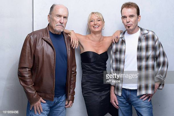Actor Robert Duvall actress Katherine LaNasa and writer/director/actor Billy Bob Thornton of 'Jayne Mansfield's Car' pose at the Guess Portrait...