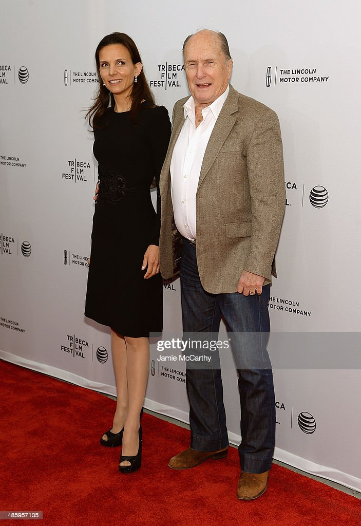 Actor <a gi-track='captionPersonalityLinkClicked' href=/galleries/search?phrase=Robert+Duvall&family=editorial&specificpeople=206637 ng-click='$event.stopPropagation()'>Robert Duvall</a> (R) and wife Luciana Pedraza attend the 'Miss Meadows' Premiere during 2014 Tribeca Film Festival at the SVA Theater on April 21, 2014 in New York City.