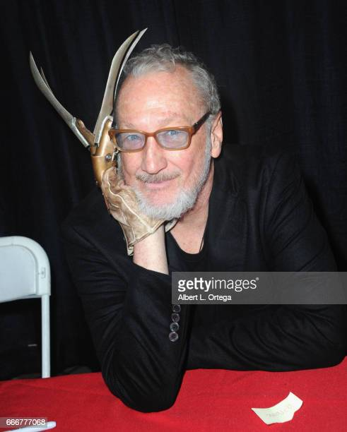 Actor Robert Englund as Freddy Kreuger signs autographs on day 2 of the 2017 Monsterpalooza held at Pasadena Convention Center on April 9 2017 in...