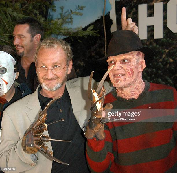 Actor Robert Englund poses with Freddy lookalike winner at the Hollywood Wax Mueum for the debut of the DVD release of 'Freddy Vs Jason' on January...