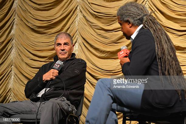 Actor Robert Forster and Film Independent Film Curator Elvis Mitchell attend a Film Independent at LACMA Screening of 'Hotel Noir' at Bing Theatre At...