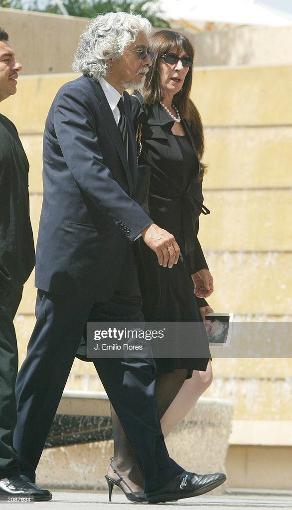Actor Robert Graham and Actress Anjelica Huston leave the Mass Memorial for actor Gregory Peck June 16, 2003 in Los Angeles, California. The public memorial mass was held a the Our Lady of Angels Cathedral in Downtown Los Angeles.