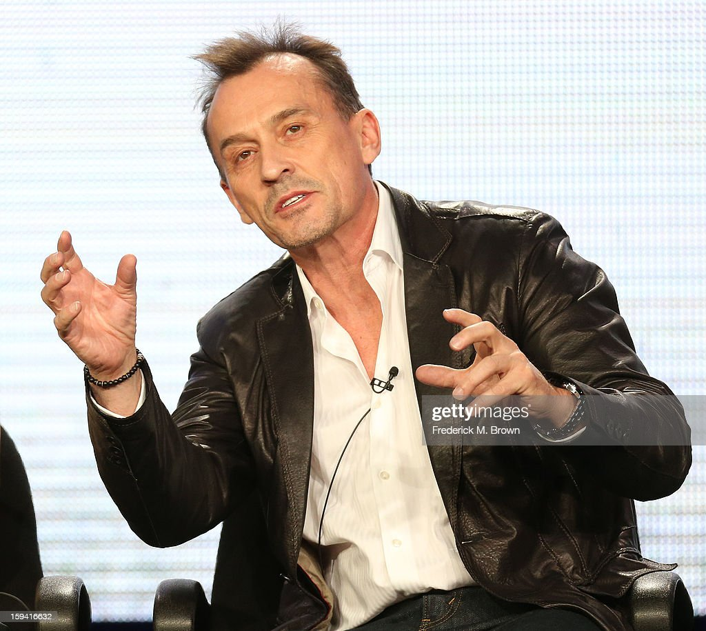 Actor <a gi-track='captionPersonalityLinkClicked' href=/galleries/search?phrase=Robert+Knepper&family=editorial&specificpeople=630261 ng-click='$event.stopPropagation()'>Robert Knepper</a> of the television show 'Cult' speaks during the CW Network portion of the 2013 Winter Television Critics Association Press Tour at the Langham Huntington Hotel & Spa on January 13, 2013 in Pasadena, California.