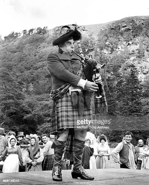 Actor Robert Morley on set the movie 'Sinful Davey' circa 1969