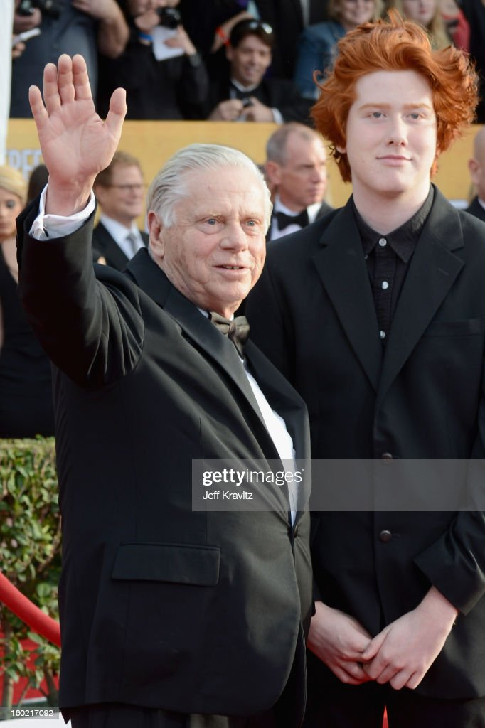 Actor <a gi-track='captionPersonalityLinkClicked' href=/galleries/search?phrase=Robert+Morse&family=editorial&specificpeople=1000081 ng-click='$event.stopPropagation()'>Robert Morse</a> (L) arrives at the 19th Annual Screen Actors Guild Awards held at The Shrine Auditorium on January 27, 2013 in Los Angeles, California.
