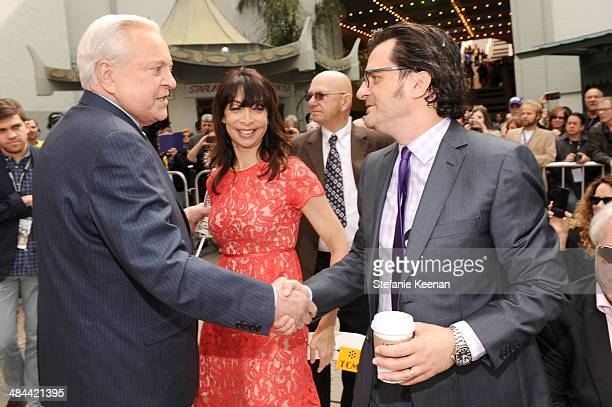 Actor Robert Osborne actress Illeanna Douglas and Weekend daytime host of Turner Classic Movies Ben Mankiewicz attend the Jerry Lewis Hand and...