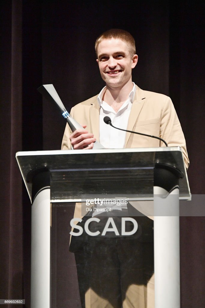 Actor Robert Pattinson accepts Maverick Award onstage at Trustees Theater during 20th Anniversary SCAD Savannah Film Festival on November 3, 2017 in Savannah, Georgia.