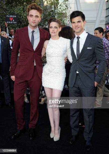 Actor Robert Pattinson actress Kristen Stewart and actor Taylor Lautner arrive at the Los Angeles Premiere 'The Twilight Saga Eclipse' at Regal 14 at...