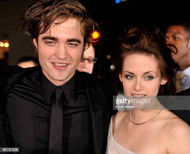 Actor Robert Pattinson and actress Kristen Stewart arrive at the film premiere of Summit Entertainment's 'Twilight' held at the Mann Village and...