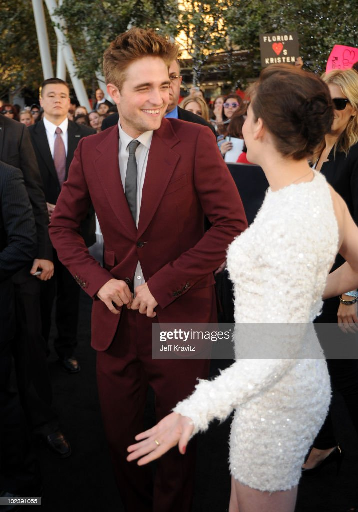 Actor <a gi-track='captionPersonalityLinkClicked' href=/galleries/search?phrase=Robert+Pattinson&family=editorial&specificpeople=734445 ng-click='$event.stopPropagation()'>Robert Pattinson</a> (L) and actress <a gi-track='captionPersonalityLinkClicked' href=/galleries/search?phrase=Kristen+Stewart&family=editorial&specificpeople=2166264 ng-click='$event.stopPropagation()'>Kristen Stewart</a> arrive at the premiere of Summit Entertainment's 'The Twilight Saga: Eclipse' during the 2010 Los Angeles Film Festival at Nokia Theatre L.A. Live on June 24, 2010 in Los Angeles, California.