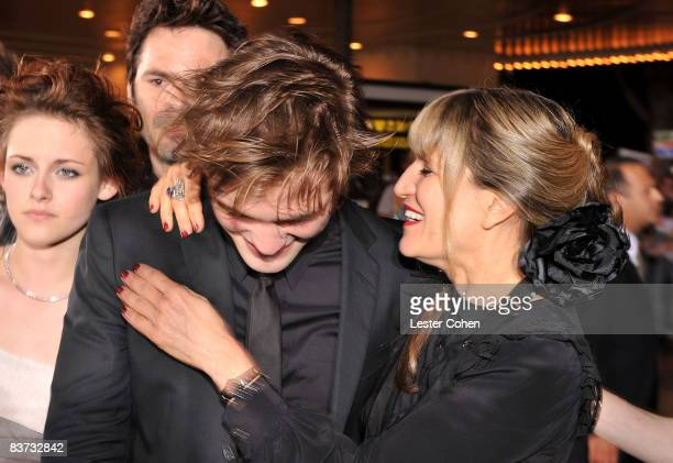 Actor Robert Pattinson and director Catherine Hardwicke arrive at Summit Entertainment's 'Twilight' World Premiere at Mann Village on November 17...