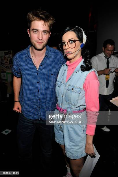 Actor Robert Pattinson and host Katy Perry attends the 2010 Teen Choice Awards at Gibson Amphitheatre on August 8 2010 in Universal City California