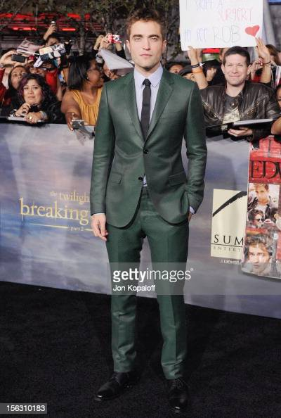 Actor Robert Pattinson arrives at the Los Angeles Premiere 'The Twilight Saga Breaking Dawn Part 2' at Nokia Theatre LA Live on November 12 2012 in...
