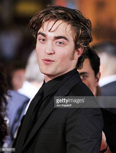 Actor Robert Pattinson arrives at the Los Angeles Premiere 'Twilight' at the Mann Village Theater on November 17 2008 in Westwood California