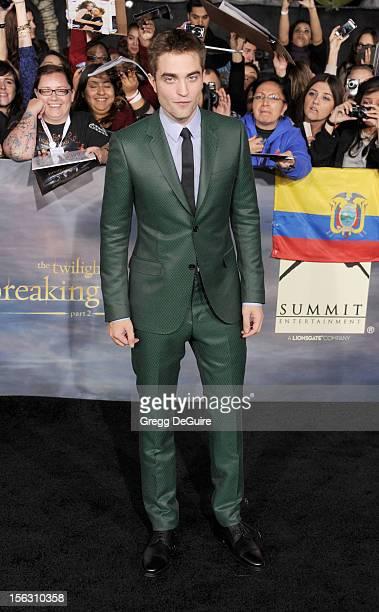 Actor Robert Pattinson arrives at 'The Twilight Saga Breaking Dawn Part 2' Los Angeles premiere at Nokia Theatre LA Live on November 12 2012 in Los...