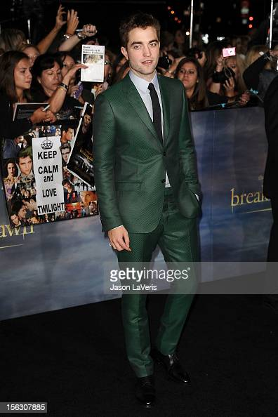 Actor Robert Pattinson attends the premiere of 'The Twilight Saga Breaking Dawn Part 2' at Nokia Theatre LA Live on November 12 2012 in Los Angeles...