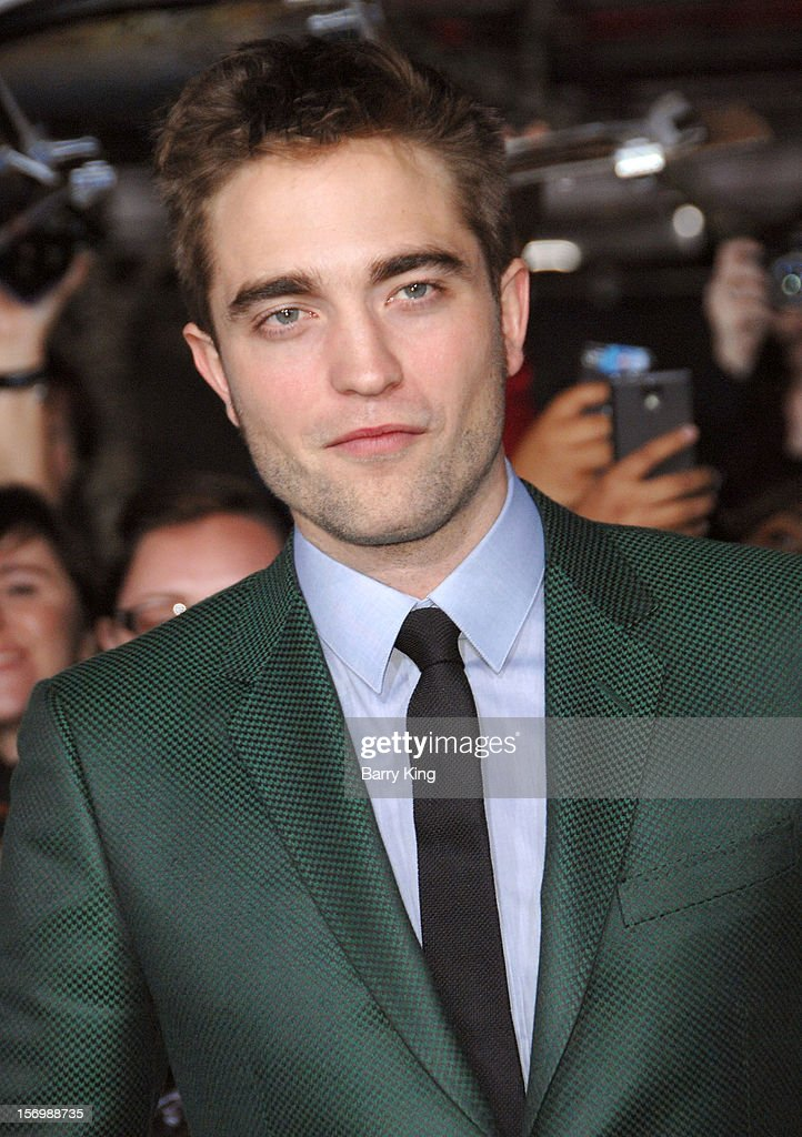 Actor <a gi-track='captionPersonalityLinkClicked' href=/galleries/search?phrase=Robert+Pattinson&family=editorial&specificpeople=734445 ng-click='$event.stopPropagation()'>Robert Pattinson</a> attends the premiere of 'The Twilight Saga: Breaking Dawn - Part 2' at Nokia Theatre L.A. Live on November 12, 2012 in Los Angeles, California.