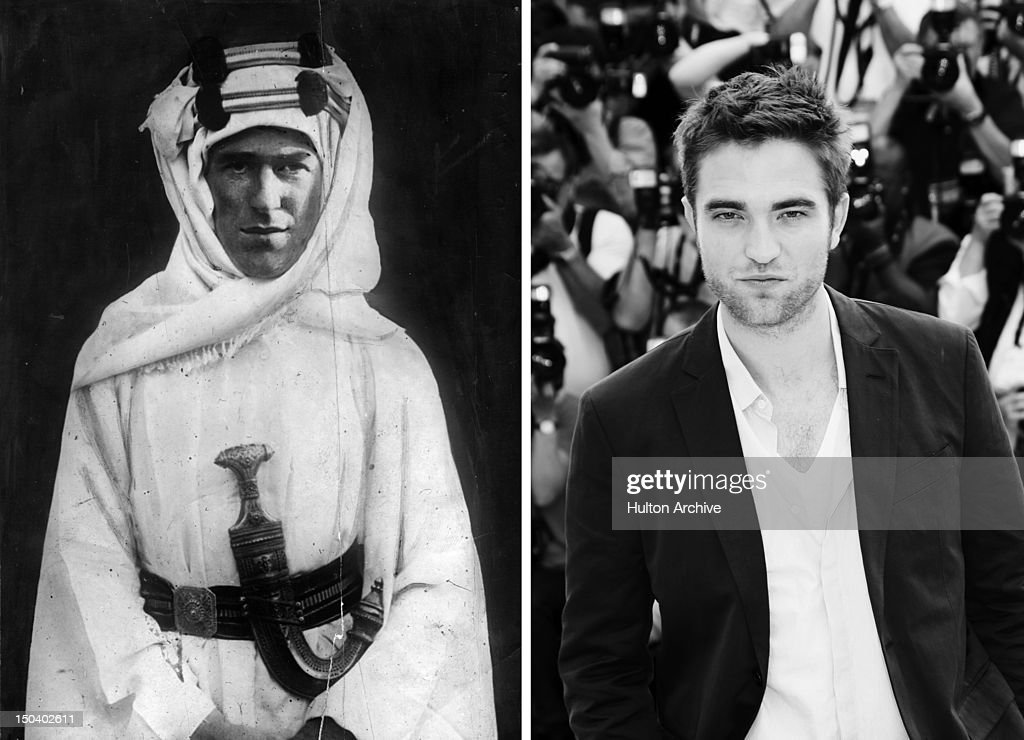 In this composite image a comparison has been made between Thomas Edward Lawrence (Lawrence Of Arabia) (L) and actor Robert Pattinson. Robert Pattinson will reportedly play T. E. Lawrence in a film biopic 'Queen of the Desert' directed by Werner Herzog. CANNES, FRANCE - MAY 25: (Editors Note: Image has been converted to black and white) Actor Robert Pattinson poses at the 'Cosmopolis' photocall during the 65th Annual Cannes Film Festival at Palais des Festivals on May 25, 2012 in Cannes, France.