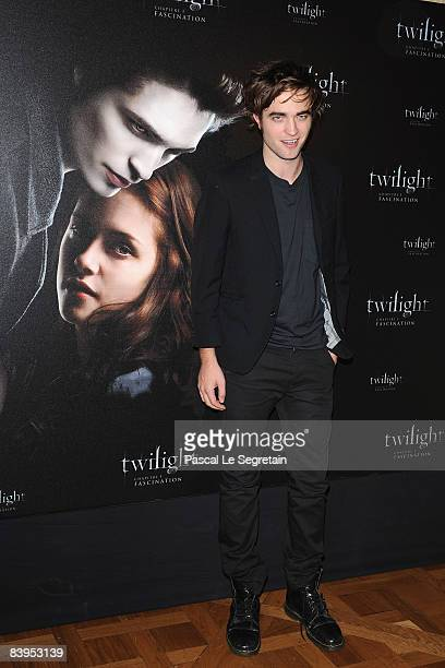 Actor Robert Pattinson poses during a photocall for the Catherine Hardwicke's film 'Twilight' on December 8 2008 at the Crillon Hotel in Paris France