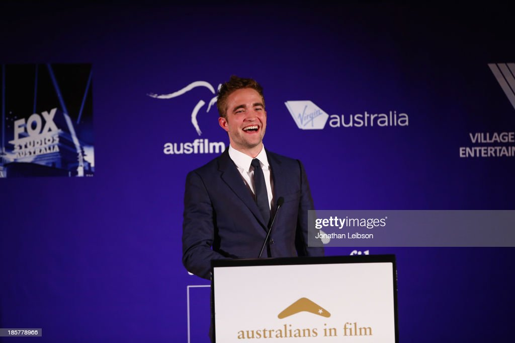 Actor <a gi-track='captionPersonalityLinkClicked' href=/galleries/search?phrase=Robert+Pattinson&family=editorial&specificpeople=734445 ng-click='$event.stopPropagation()'>Robert Pattinson</a> speaks onstage at the 2nd Annual Australians in Film Awards Gala at Intercontinental Hotel on October 24, 2013 in Beverly Hills, California.