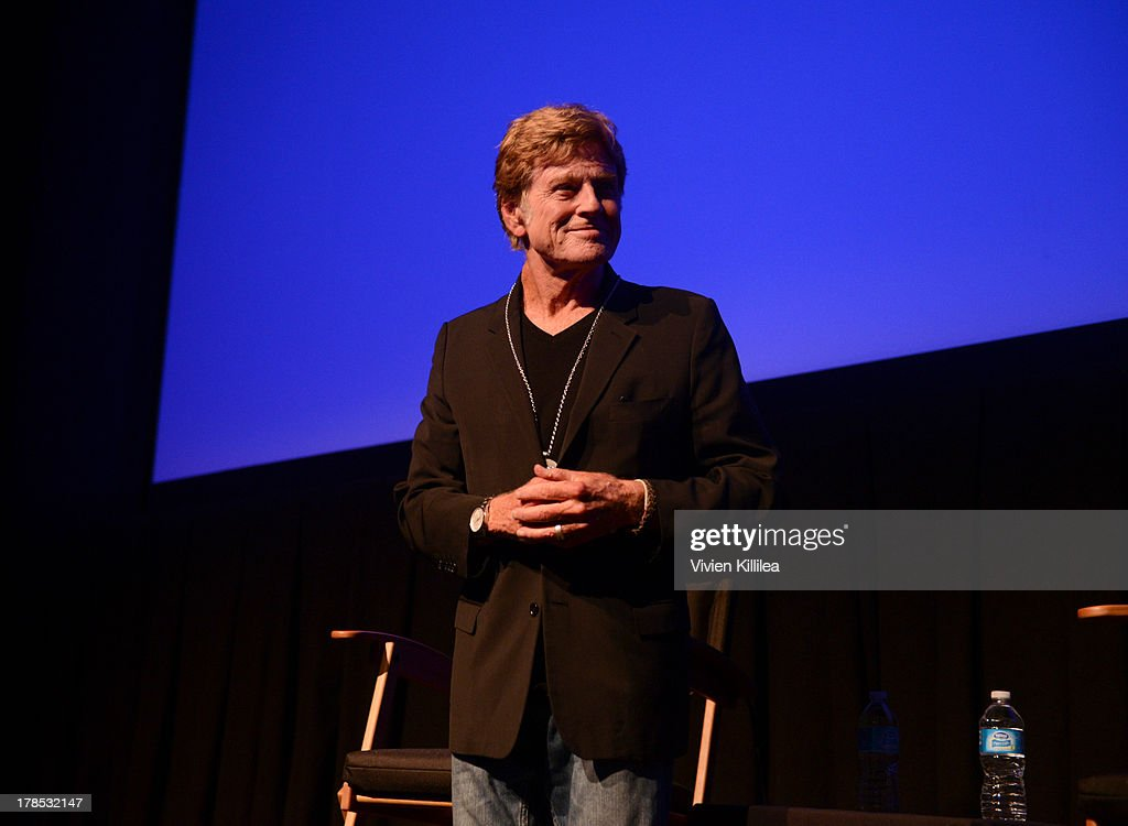 Actor <a gi-track='captionPersonalityLinkClicked' href=/galleries/search?phrase=Robert+Redford&family=editorial&specificpeople=202897 ng-click='$event.stopPropagation()'>Robert Redford</a> accepts his tribute award on day 1 of the 2013 Telluride Film Festival on August 29, 2013 in Telluride, Colorado.