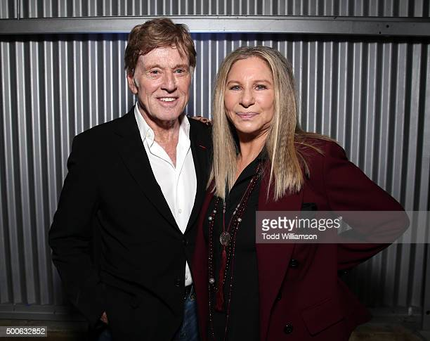 Actor Robert Redford and honoree Barbra Streisand attend the 24th annual Women in Entertainment Breakfast hosted by The Hollywood Reporter at Milk...