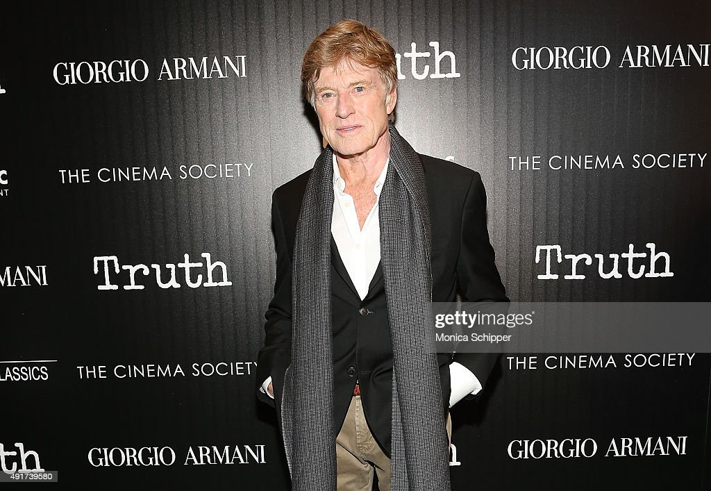 Actor <a gi-track='captionPersonalityLinkClicked' href=/galleries/search?phrase=Robert+Redford&family=editorial&specificpeople=202897 ng-click='$event.stopPropagation()'>Robert Redford</a> attends the screening of Sony Pictures Classics' 'Truth' hosted by Giorgio Armani and The Cinema Society at Museum of Modern Art on October 7, 2015 in New York City.