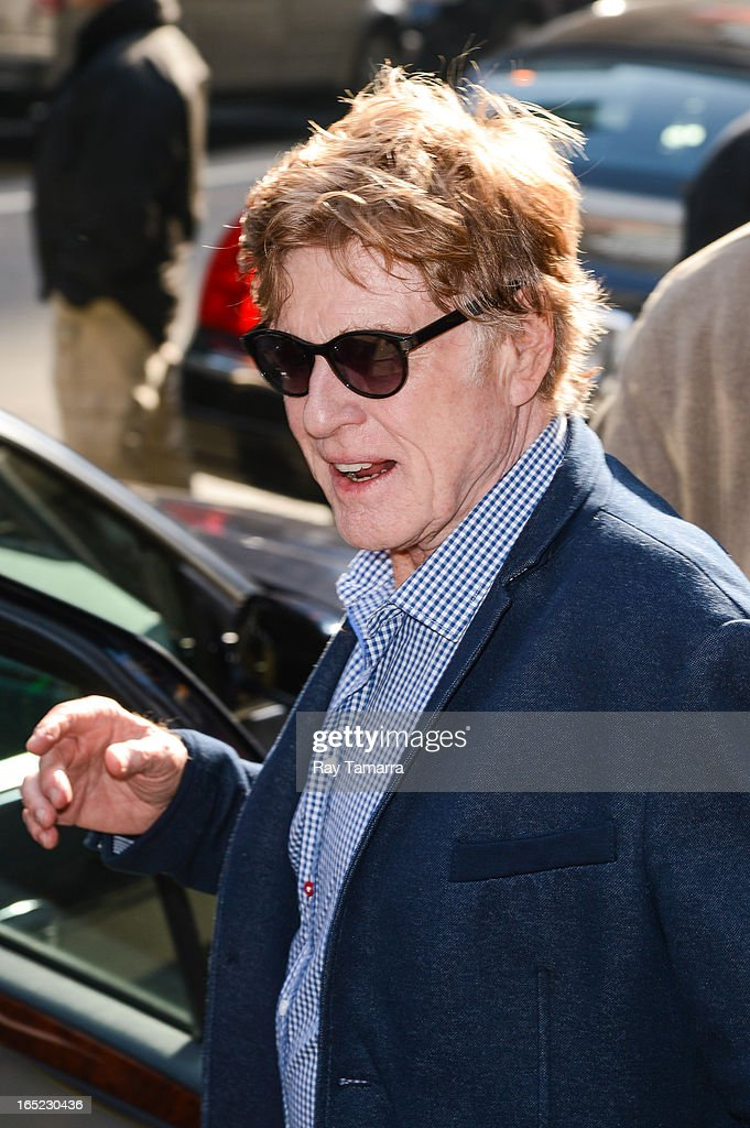 Actor Robert Redford leaves the 'Good Morning America' taping at the ABC Times Square Studios on April 1, 2013 in New York City.