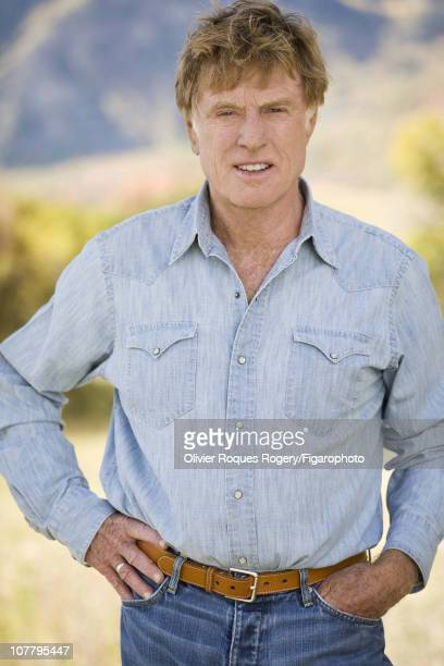 Actor Robert Redford poses outside The Sundance Resort for Le Figaro on November 24 2009 in Sundance Utah Figaro ID 090352078 CREDIT MUST READ...