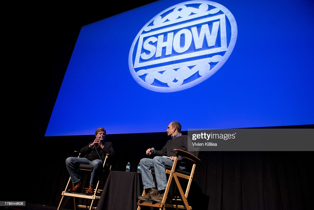 Actor Robert Redford speaks with writer Todd McCarthy of The Hollywood Reporter after accepting his tribute award on day 1 of the 2013 Telluride Film Festival on August 29, 2013 in Telluride, Colorado.