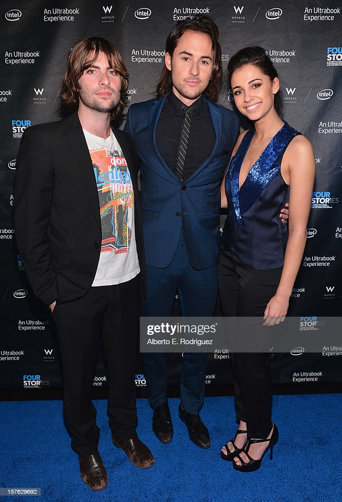 Actor Robert Schwartzman, director Lee Toland Kreiger and actress Naomi Scott arrive to the after party for the premiere of 'Four Stories' at The W Hotel on December 4, 2012 in Westwood, California.