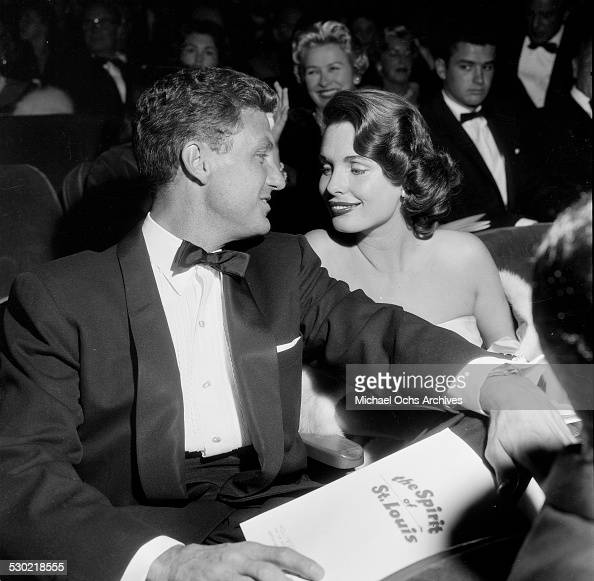 Actor Robert Stack and his wife actress Rosemarie Bowe attend the premiere of ' The Spirit of St Louis' in Los AngelesCA